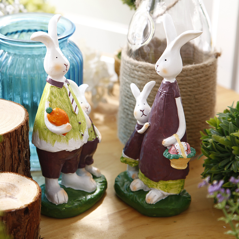 American country creative rabbit small ornaments cafe bedroom living room tv cabinet home decorations desktop decoration