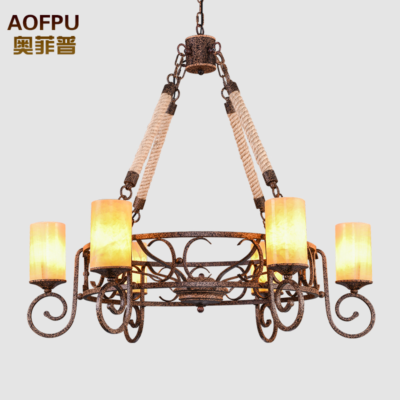 American country six iron chandelier vintage industrial hemptwist lying on the living room restaurant cafe room marble lamps