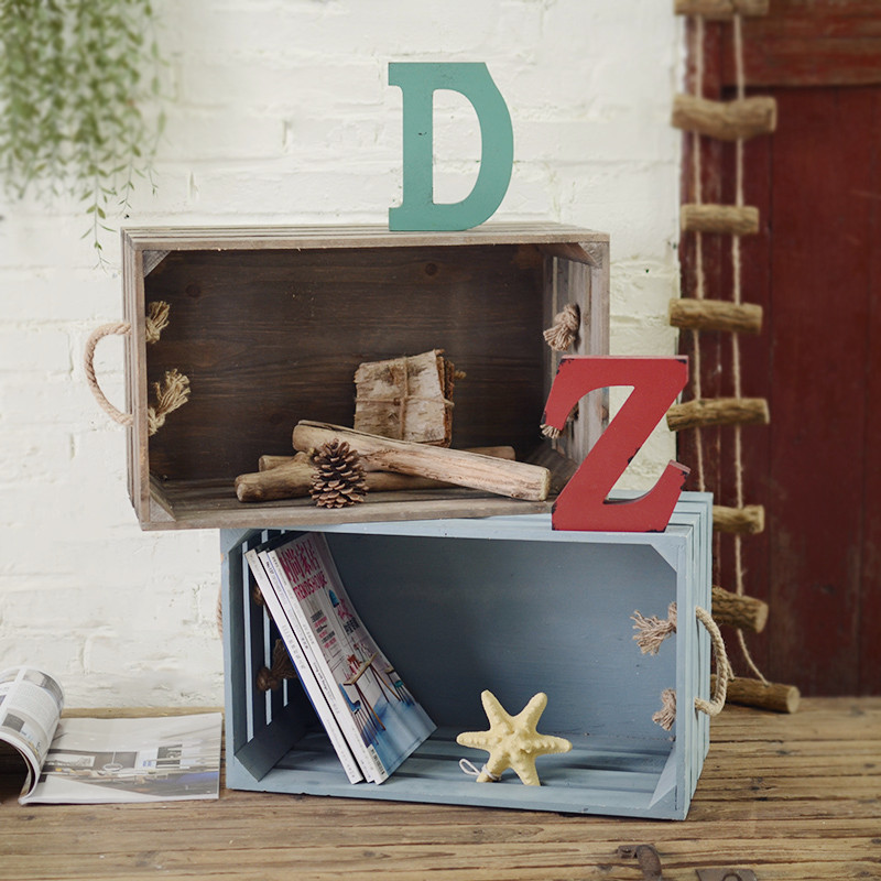American country wood decorative storage box ornaments crafts creative clothing shop window display props furnishings