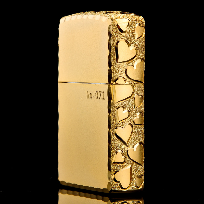 American original genuine zippo lighters genuine gold-plated valentine heart limited zppo kerosene windproof men