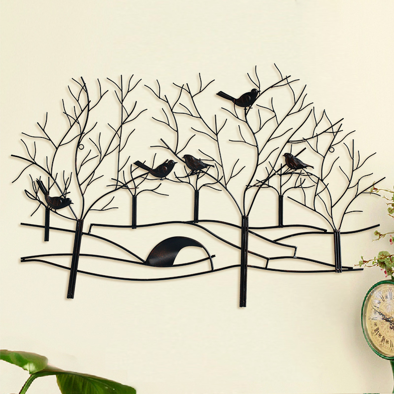 American pastoral wrought iron wall hangings forest birds minimalist living room sofa backdrop dimensional mural home decorations