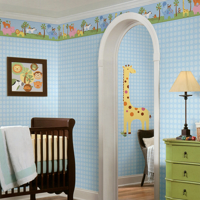 American pure paper wallpaper disaiweisi monkey lion elephant giraffe hippo animal children's room wallpaper