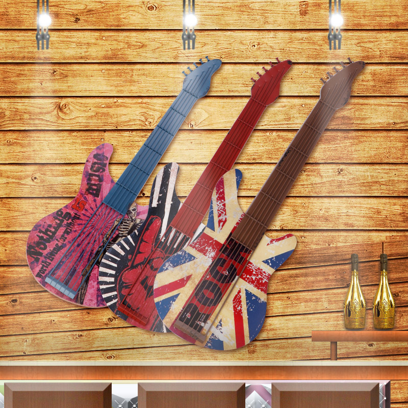 American retro bedroom home guitar creative tea shop wall decoration dimensional wall hangings decorative ornaments painted wood art supplies