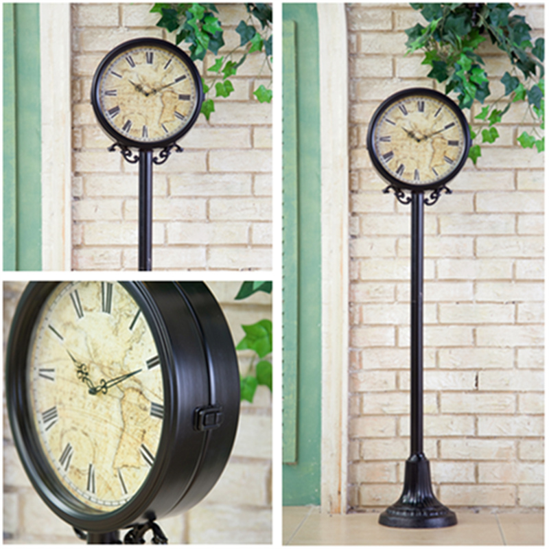 Get Quotations · American Retro Black Wrought Iron Decorative Table Clock  Large Living Room Floor Clock Clock Modern Crafts
