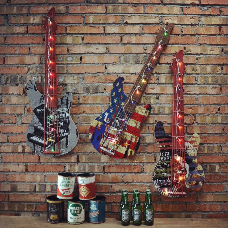 American retro guitar model office store children's room decorative wall hanging bar creative wall hangings decorative pendant