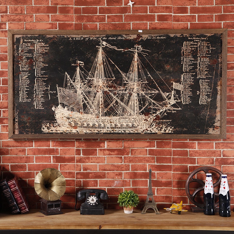 American retro industrial loft style wood painting sailboat blackboard soft wall decorations wall hangings creative personality bar
