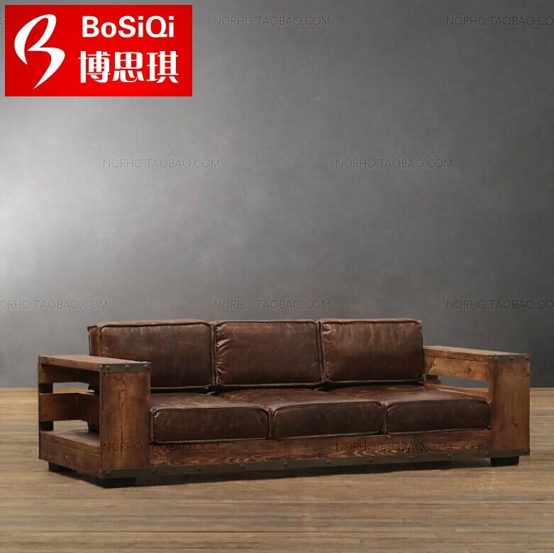 American retro industrial loft style wrought iron wood to do the old antique wood sofa chair deck soft leather sofa