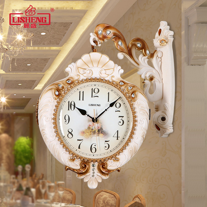 get quotations american retro living room wall clock watch sided clock mute creative fashion personality continental shaped quartz