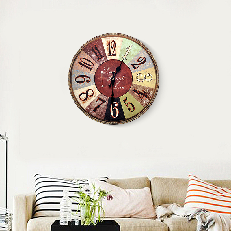 American retro nostalgia creative living room wall clock decorative wall art wall hangings soft home decorations wall hangings wall hanging table