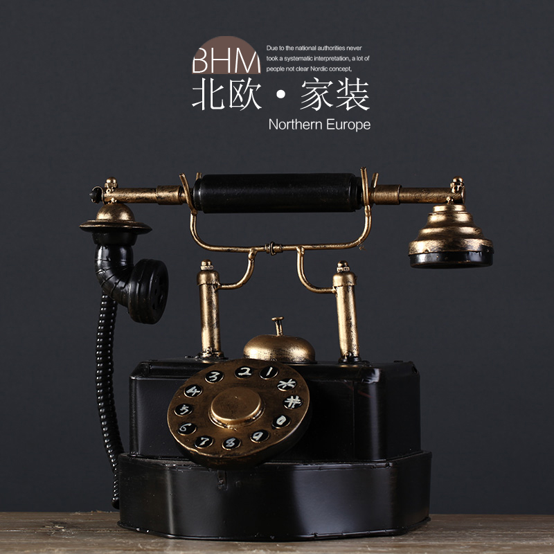 American retro to do the old wrought iron ornaments phone model model room furnishings home clothing store decorations