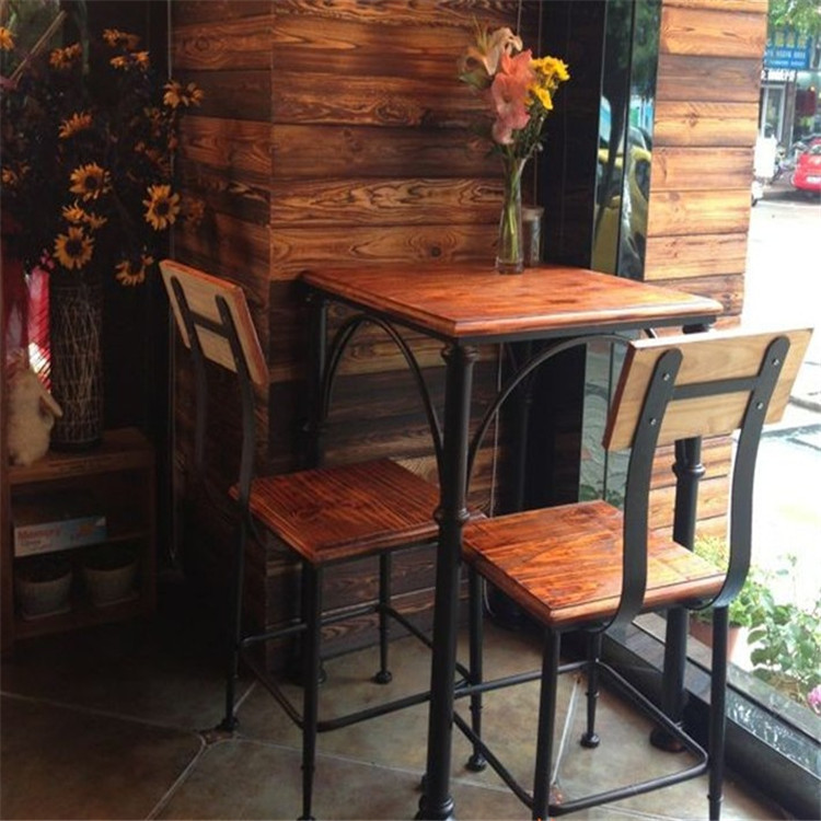 American retro wood wrought iron dining table cafe bar and restaurant tables and chairs kit milk tea shop coffee table combination spot