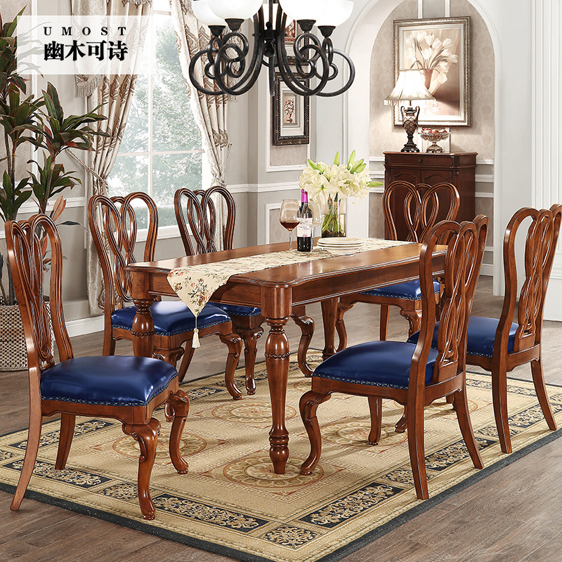 American solid wood dining tables and chairs combination of european small apartment dining table special offer 1 table 6 chairs dining table furniture contract