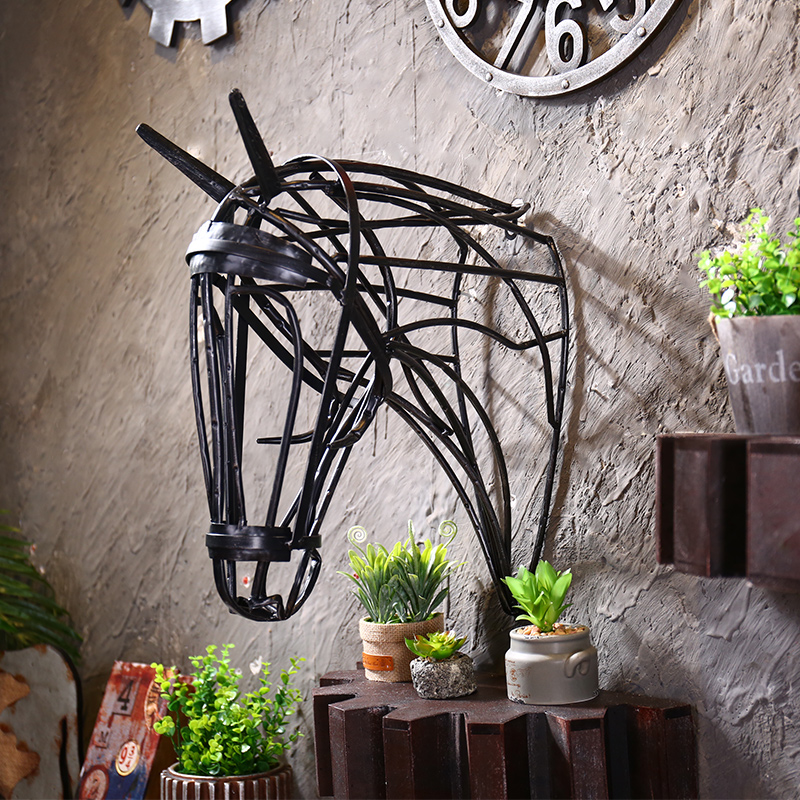 American vintage wrought iron ornaments creative wall hangings horsehead bar cafe personalized wall hangings decorations animals