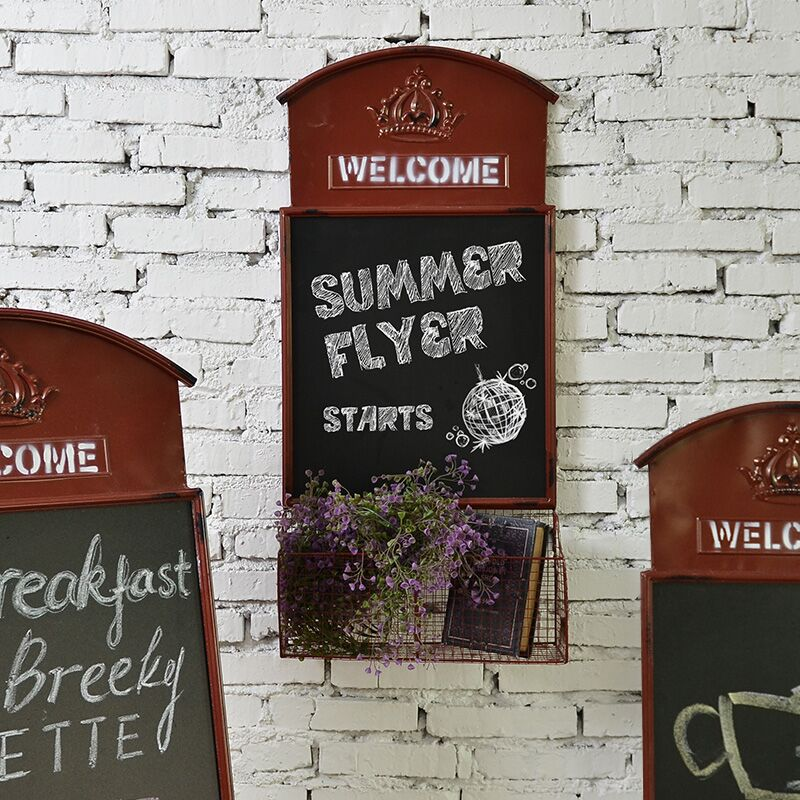 American vintage wrought iron wall hanging blackboard message board message board creative decorations decorative wall shelf clothing store window