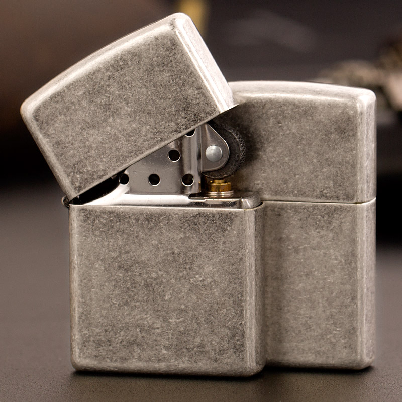 American zippo lighters genuine zippo windproof lighter men's vintage antique silver plate 121fb