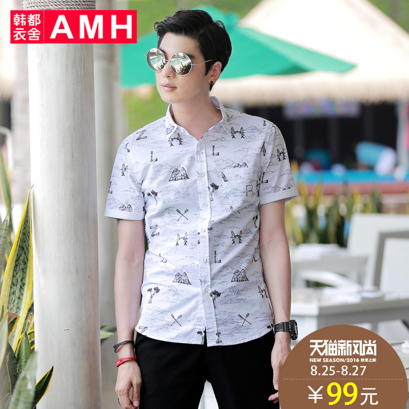Amh korean homes have clothes 2016 summer new korean version of slim pointed collar shirt printing short sleeve men QA6158