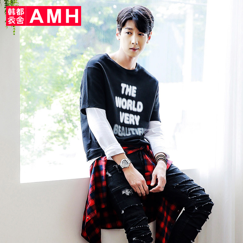 Amh men korean version 2016 new winter fashion printing fake two t-shirt male korean influx of students NX7002