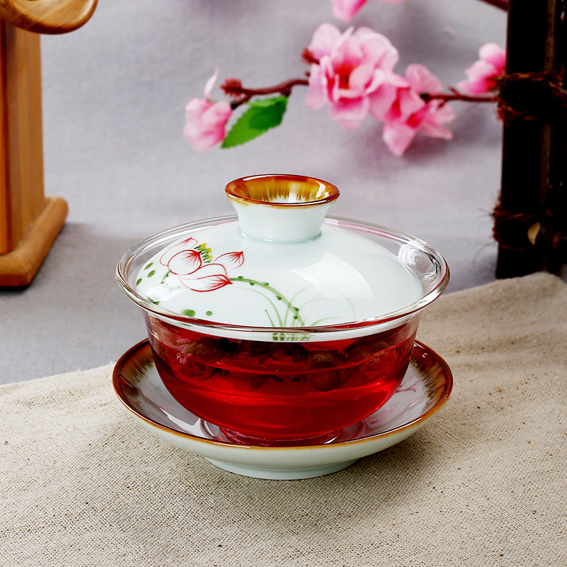 Amico ceramic tea bowl covered tea cup jingdezhen porcelain hand painted with god bowl cup filter bowl