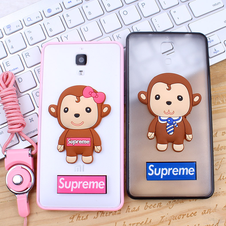 Amoy cool millet 4 mobile phone mobile phone sets of soft silicone shell drop resistance silicone 3d monkey lanyard male and female couple models
