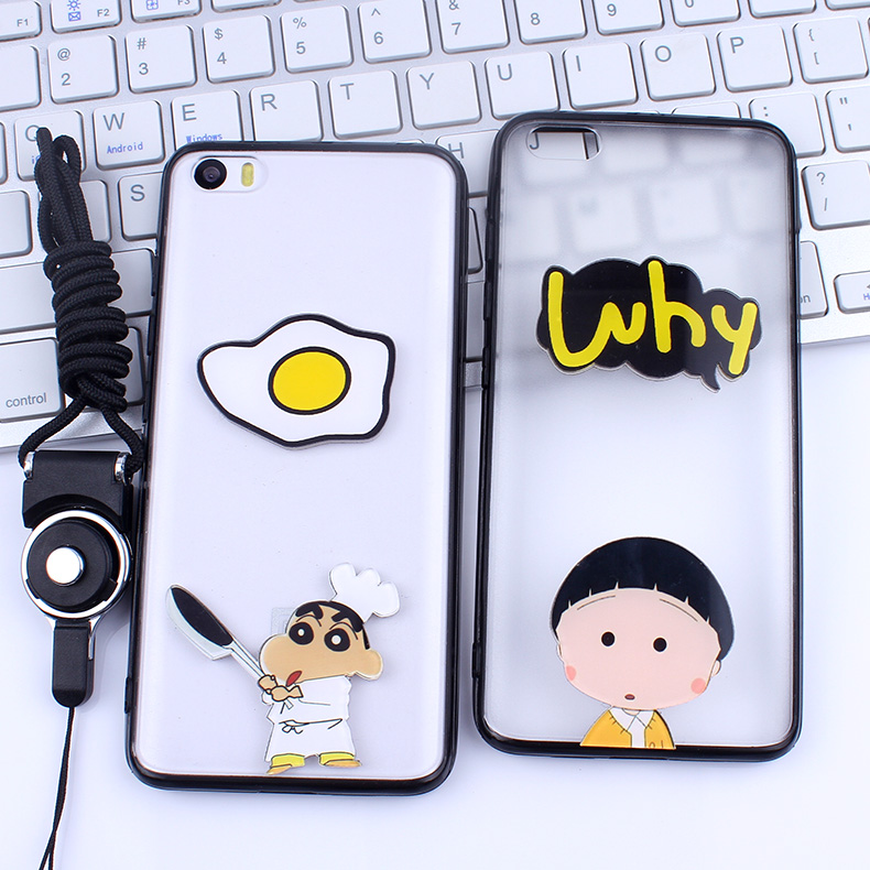 Amoy cool millet 5 mobile phone shell popular brands of mobile phone sets of soft silicone lanyard male and female models korean version of the cartoon character illustration