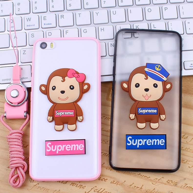Amoy cool millet 5 mobile phone soft silicone shell mobile phone sets monkey 3d silicone lanyard couple models of men and women korean version of the day