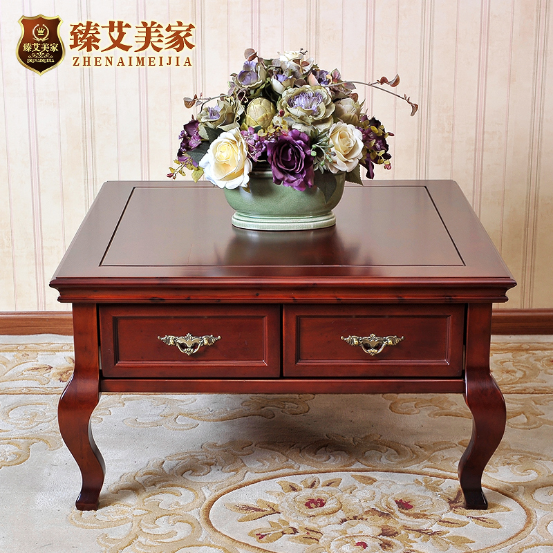 Amy zhen home american country living room furniture solid wood square coffee table with pumping small square a few corner sofa side a few phone sets