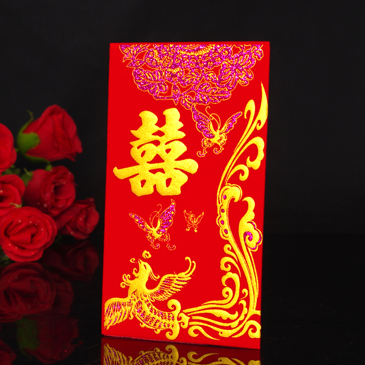 An awe red flannel upscale new year red packets creative wedding wedding supplies thousand yuan red envelopes wovens