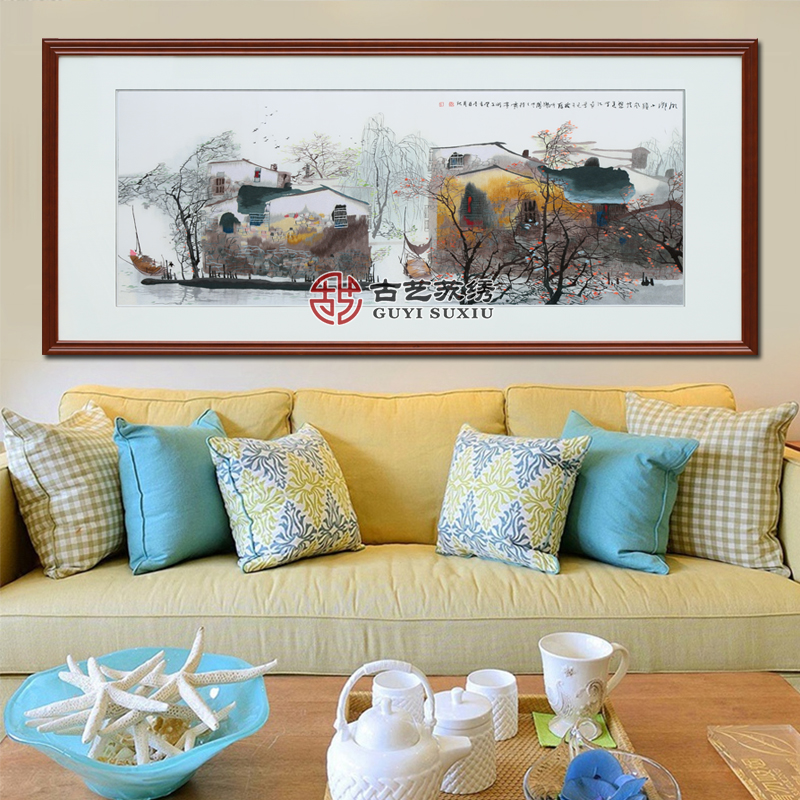 Ancient art of embroidery finished jiangnan suzhou embroidery decorative painting the living room office opened housewarming gift