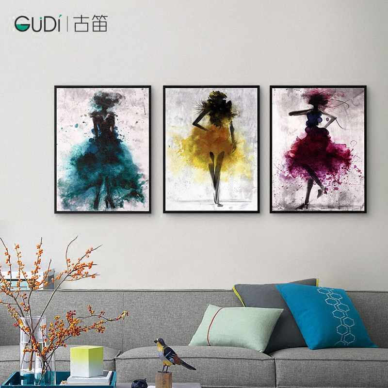 Ancient flute stylish scandinavian minimalist wall painting decorative painting abstract art decorative painting the living room entrance framed painting wall murals painted dancers