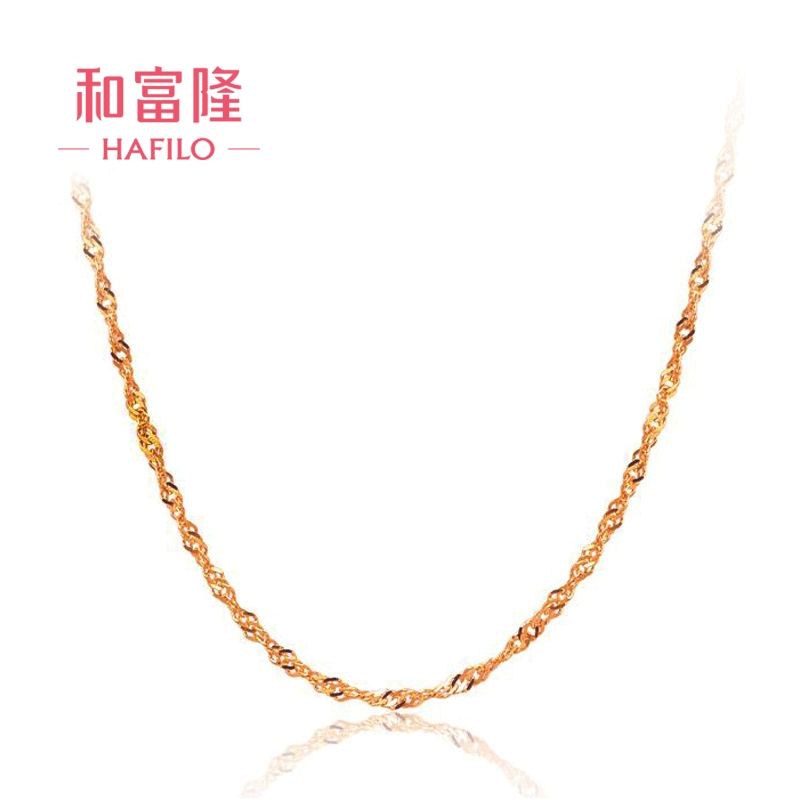 And fulong k k gold necklace clavicle water ripples gold platinum rose gold color gold necklace female models