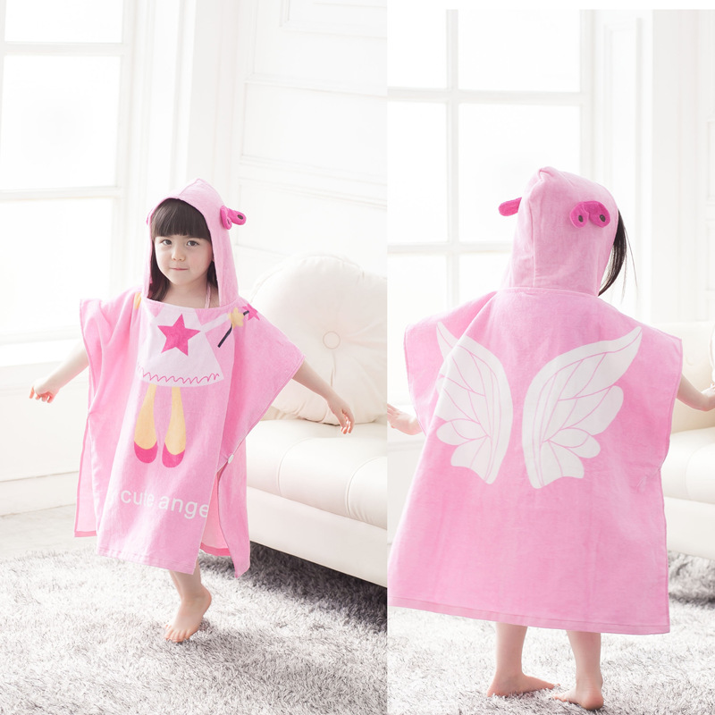 Angel children cotton children's bath towel bathrobe bathrobe cartoon baby hooded bathrobe bath cape draped