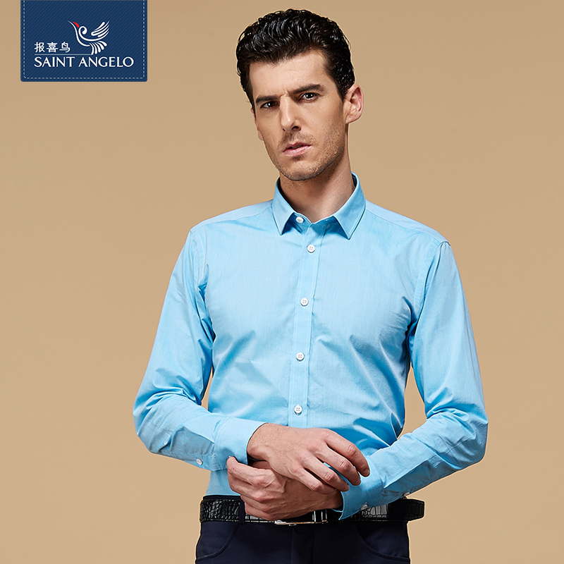 Angelo men's business casual cotton shirt custom shirt custom tailored men's slim solid color shirt