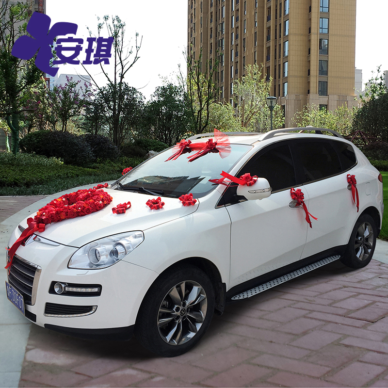 Angie chinese wedding red heart dish decorated floats simulation bride wedding celebration wedding car decoration kit car truck
