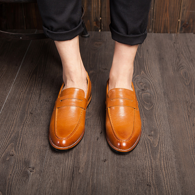 Animal health gentleman simple yellow leather shoes in spring and autumn business casual men's shoes england sets foot men's office