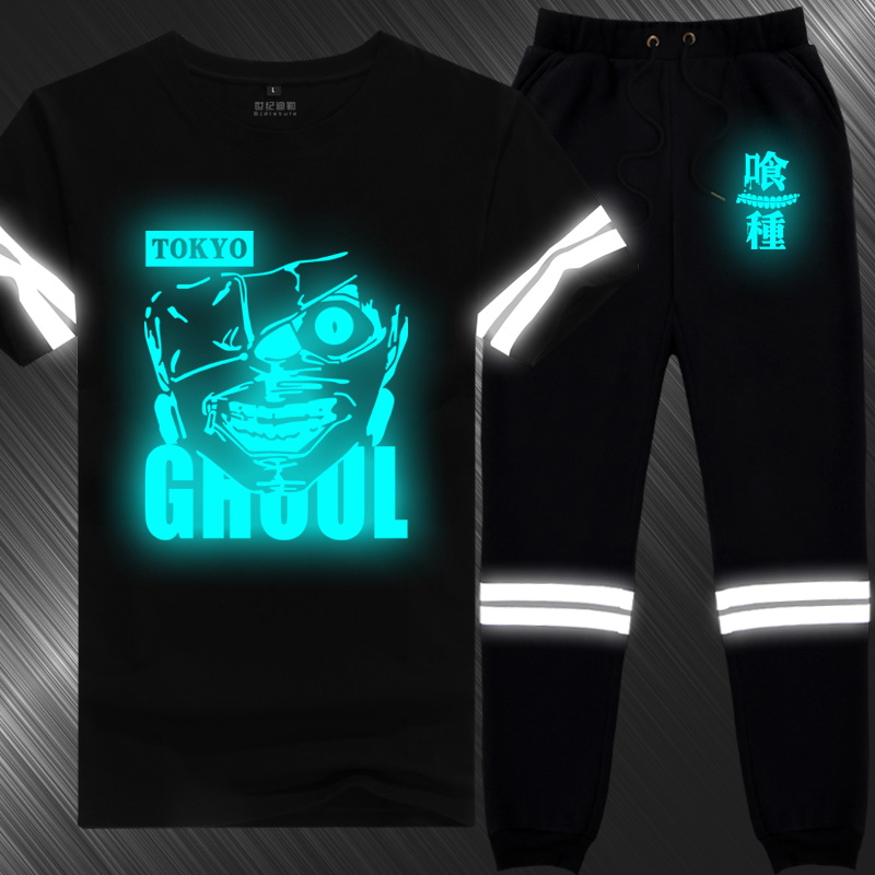 Animation around tokyo ghoul sun kinds of m reflective fluorescent luminous short sleeve t-shirt suit trousers male tide on clothes