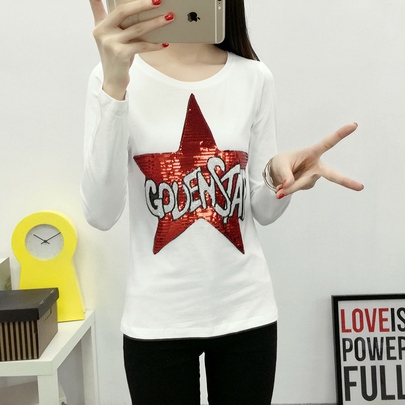 Anmashu european style 2016 new sequined sequin pentagram long sleeve cotton t-shirt female fitting body shirt tide