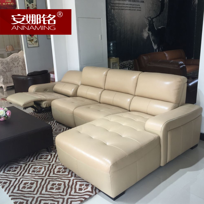 Anna ming brand imported italian leather sofa thick cowhide leather corner sofa functional sofa RB8008