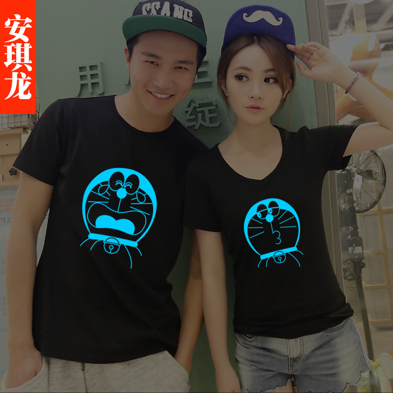 Anqi long luminous male and female models cartoon short sleeve t-shirt lovers machine cat summer compassionate simple clothes