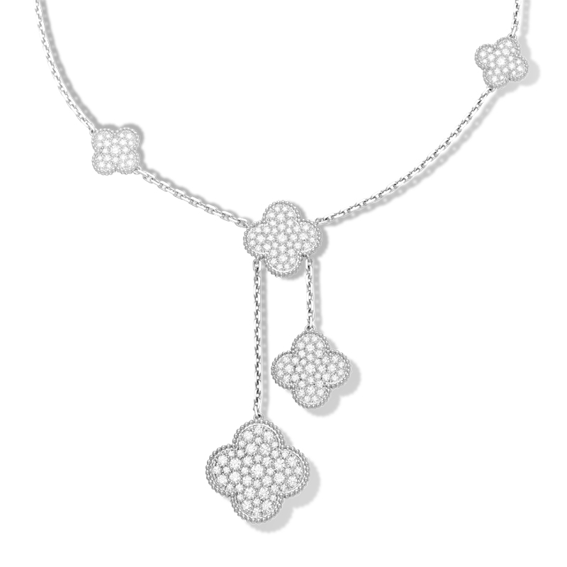 Anrui s925 silver necklace inlaid full diamond clover pendant in sterling silver female clavicle chain korea fashion jewelry