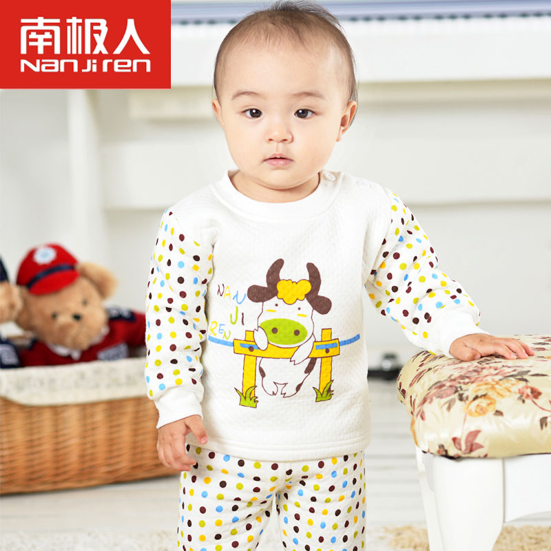 Antarctic children thermal underwear sets three warm thick cotton men and children autumn baby baby clothes
