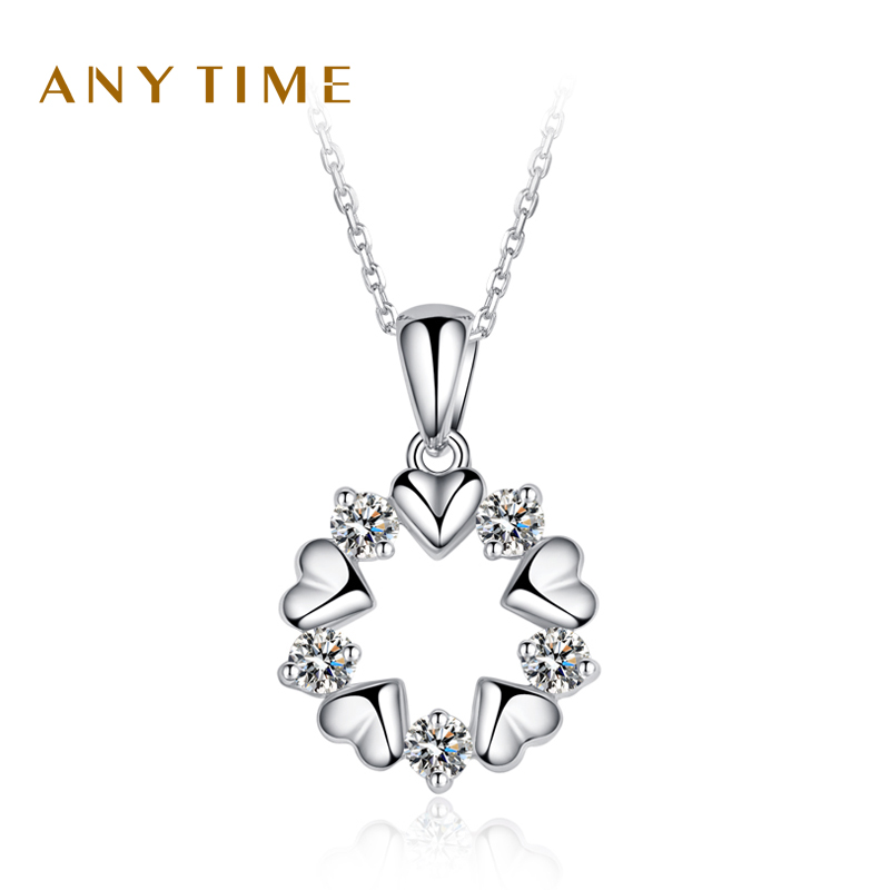 Anytime ms. clavicle chain fashion jewelry s925 silver diamond earrings zircon pendant necklace female gift 0603
