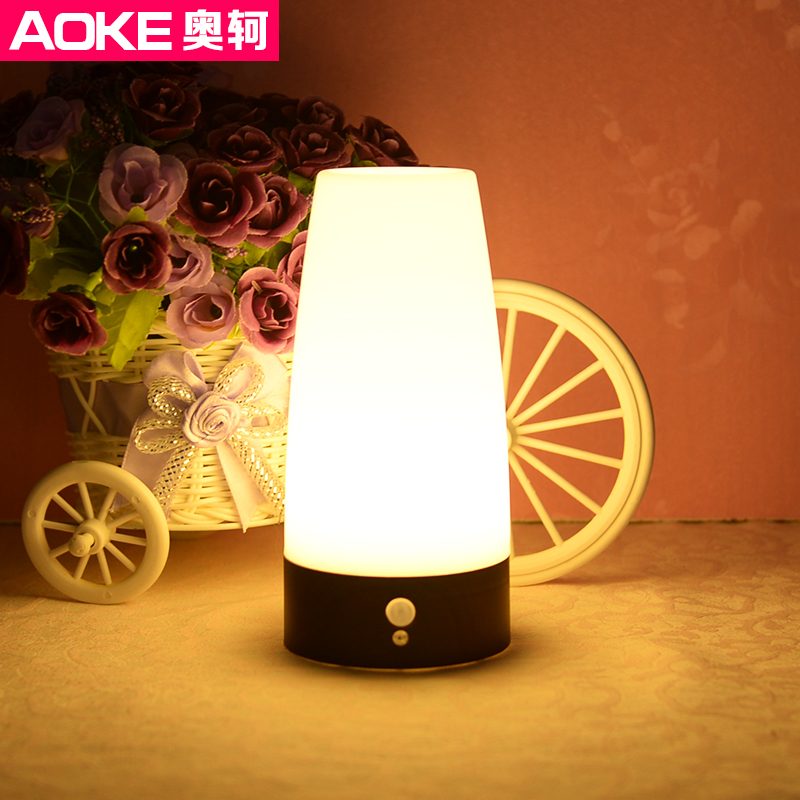 Ao ke simple classic human body sensor light led night light creative home atmosphere lamp antique wood