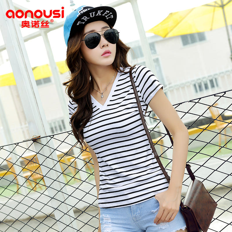 Aonuo si 2016 summer new commuter korean version of the v-neck slim thin wild striped shirt t-shirt blouses m021