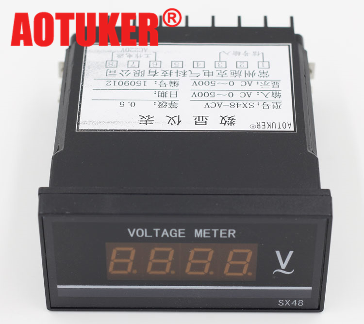 Aotuker SX48-ACV ac500v ac digital voltmeter 48*96 can be measured ac220v 380 v
