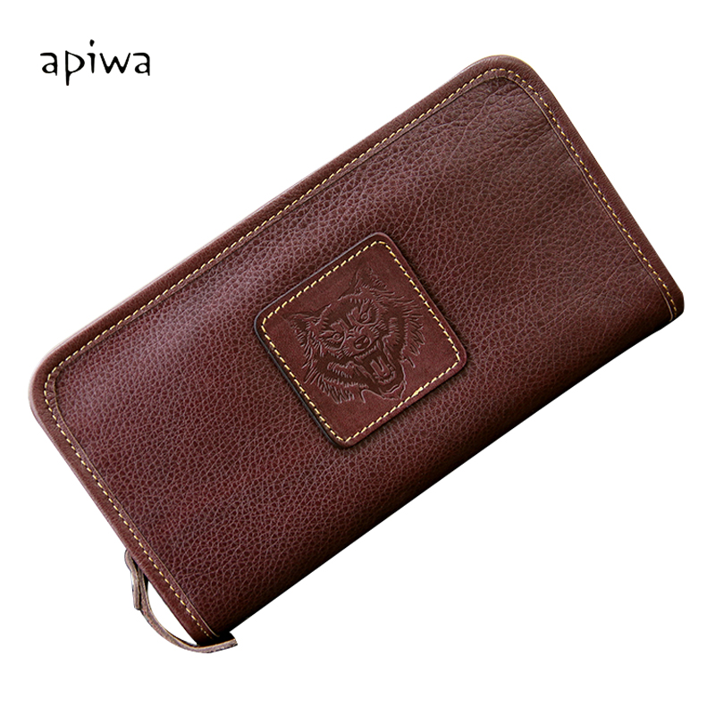 Appy baby male leather wallet long section of leather zipper cow leather wallet men wallet money header layer of leather retro casual men