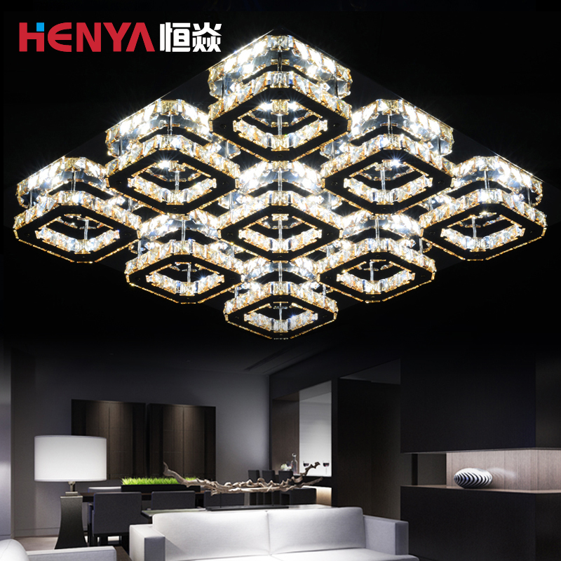 Are rectangular led ceiling lamp crystal lamp living room bedroom creative restaurant atmosphere with simple and warm lighting lamps