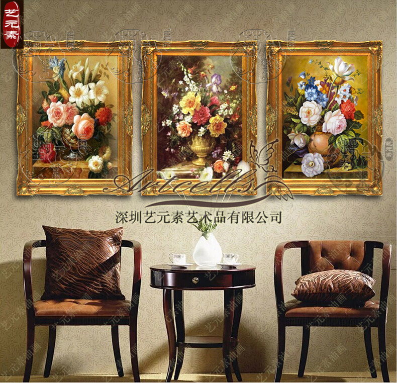 Art elements painted oil painting flowers classical european villa living room entrance framed painting decorative fireplace YHG006