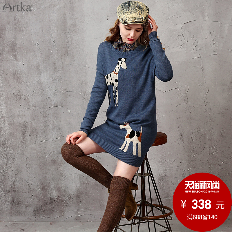 Artka aka autumn women dress sweater dress short paragraph retro jacquard weave LB15259Q