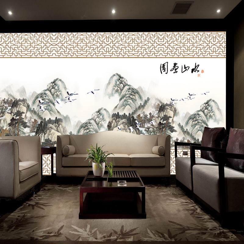 Arts and homes large mural seamless backdrop wallpaper wallpaper mural of modern chinese landscape painting custom shipping