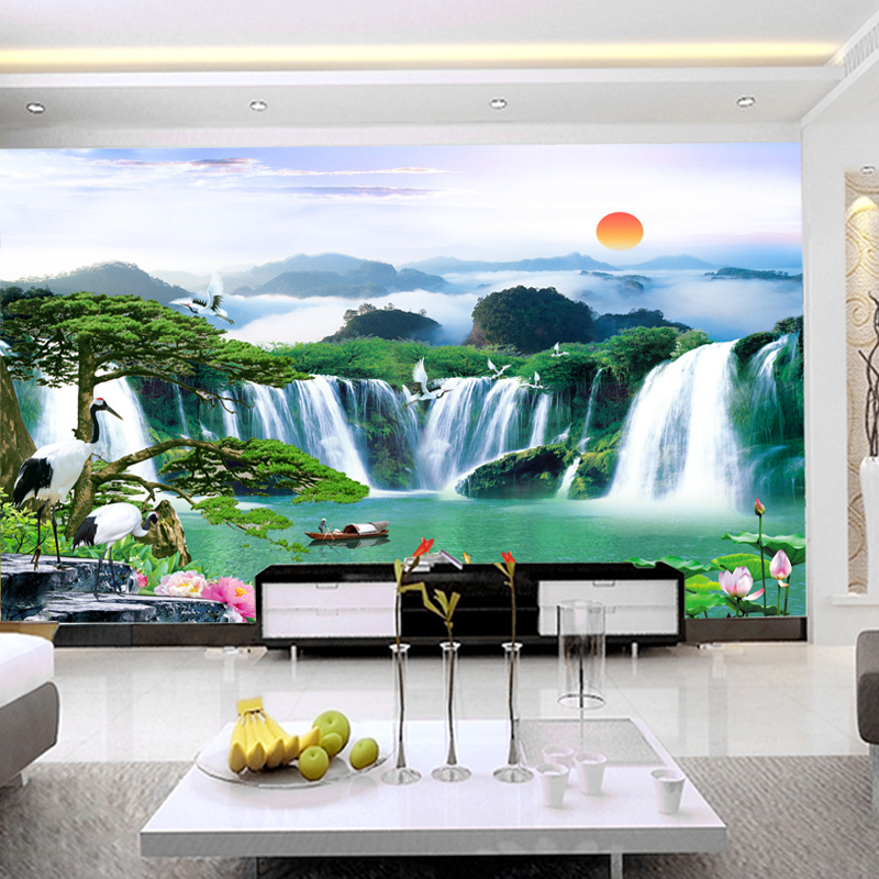 Arts and homes large seamless wallpaper mural wallpaper chinese landscape waterfall landscape yingkesong living room tv background wallpaper